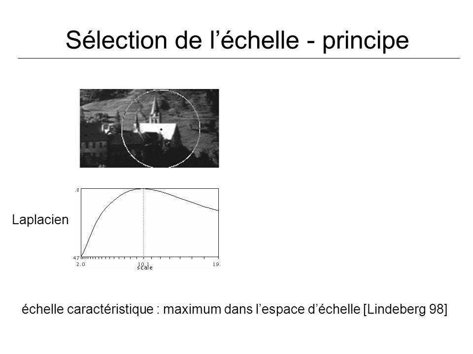 Sélection de léchelle - principe Laplacien échelle caractéristique : maximum dans lespace déchelle [Lindeberg 98]