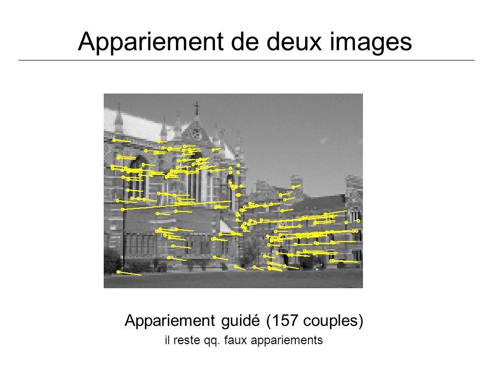 Appariement de deux images Appariement guidé (157 couples) il reste qq. faux appariements