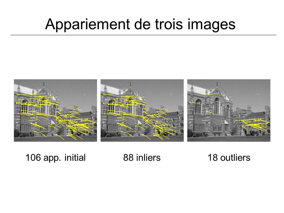 Appariement de trois images 106 app. initial88 inliers18 outliers