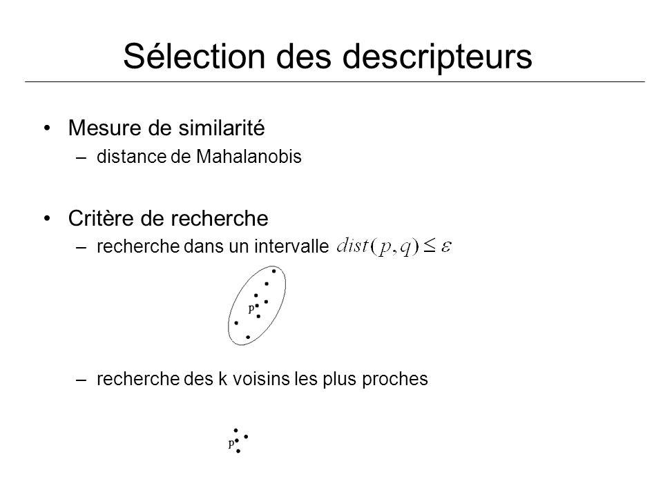 Sélection des descripteurs Mesure de similarité –distance de Mahalanobis Critère de recherche –recherche dans un intervalle –recherche des k voisins les plus proches