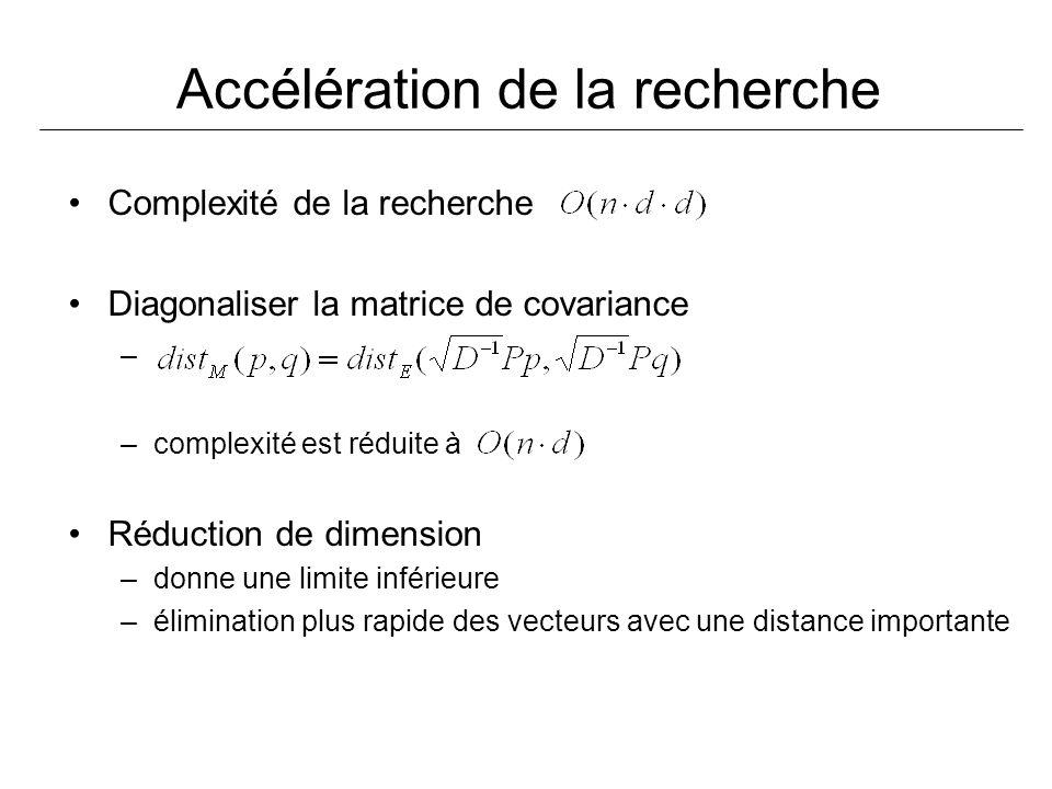 Accélération de la recherche Complexité de la recherche Diagonaliser la matrice de covariance – –complexité est réduite à Réduction de dimension –donne une limite inférieure –élimination plus rapide des vecteurs avec une distance importante