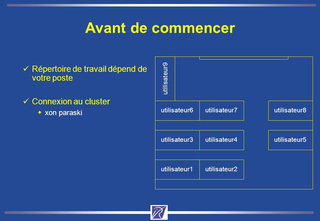 Avant de commencer utilisateur1utilisateur2 utilisateur3utilisateur4utilisateur5 utilisateur6utilisateur7utilisateur8 utilisateur9 Répertoire de travail dépend de votre poste Connexion au cluster xon paraski