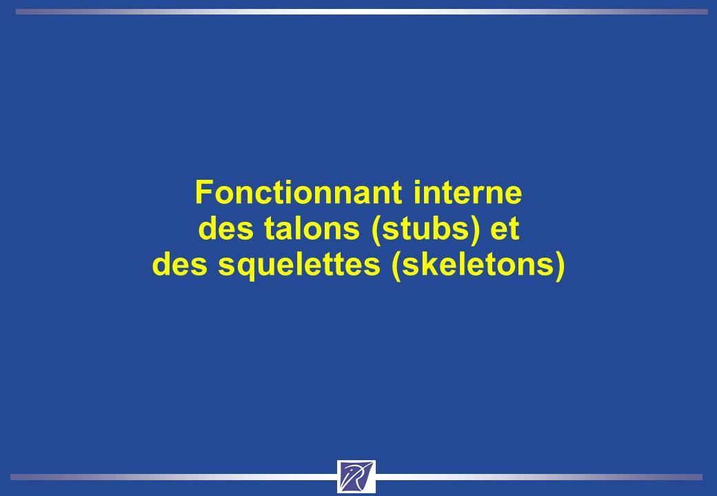 Fonctionnant interne des talons (stubs) et des squelettes (skeletons)