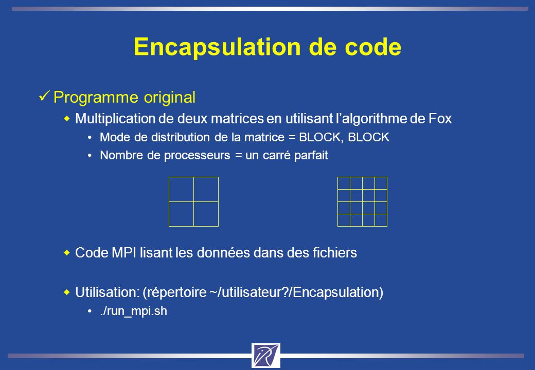 Programme original Multiplication de deux matrices en utilisant lalgorithme de Fox Mode de distribution de la matrice = BLOCK, BLOCK Nombre de process