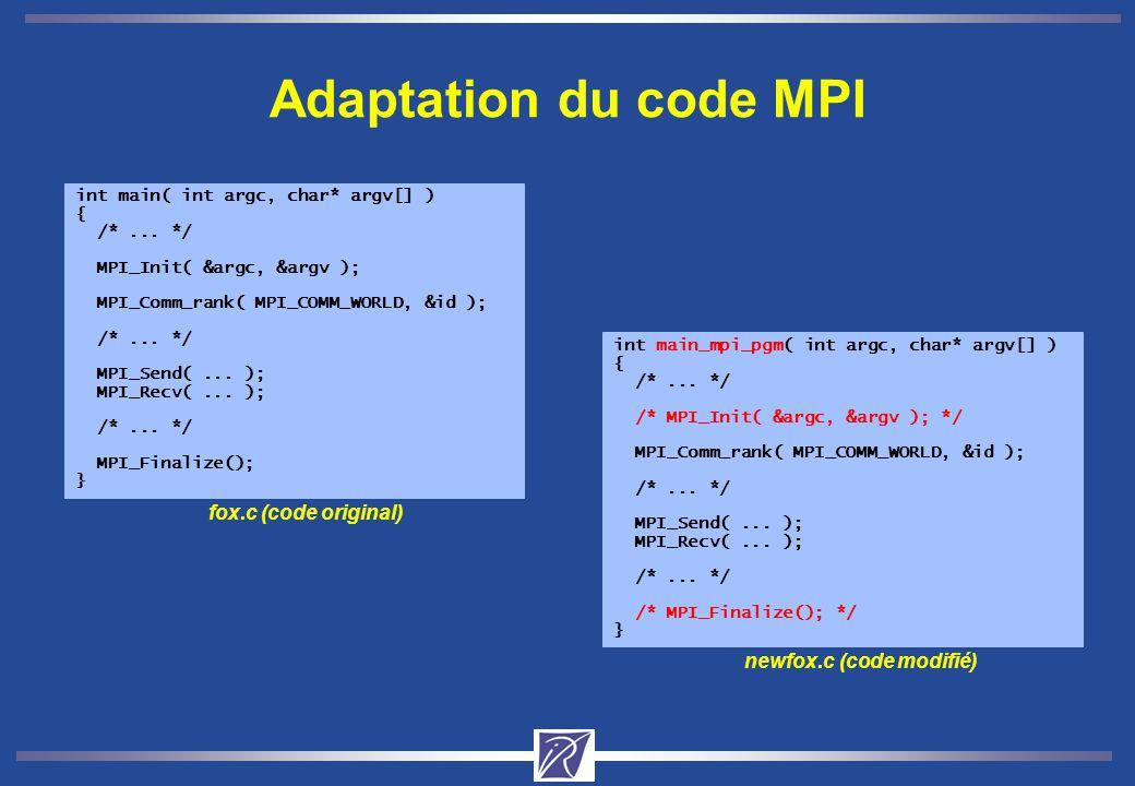 Adaptation du code MPI int main( int argc, char* argv[] ) { /*...