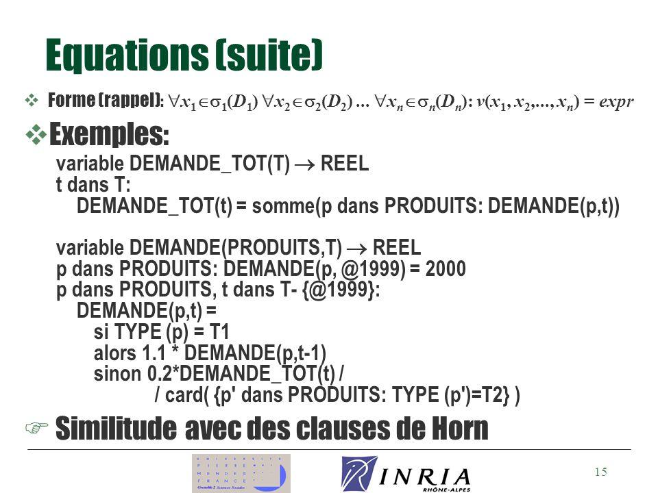 15 Equations (suite) Forme (rappel) : x 1 1 (D 1 ) x 2 2 (D 2 )...