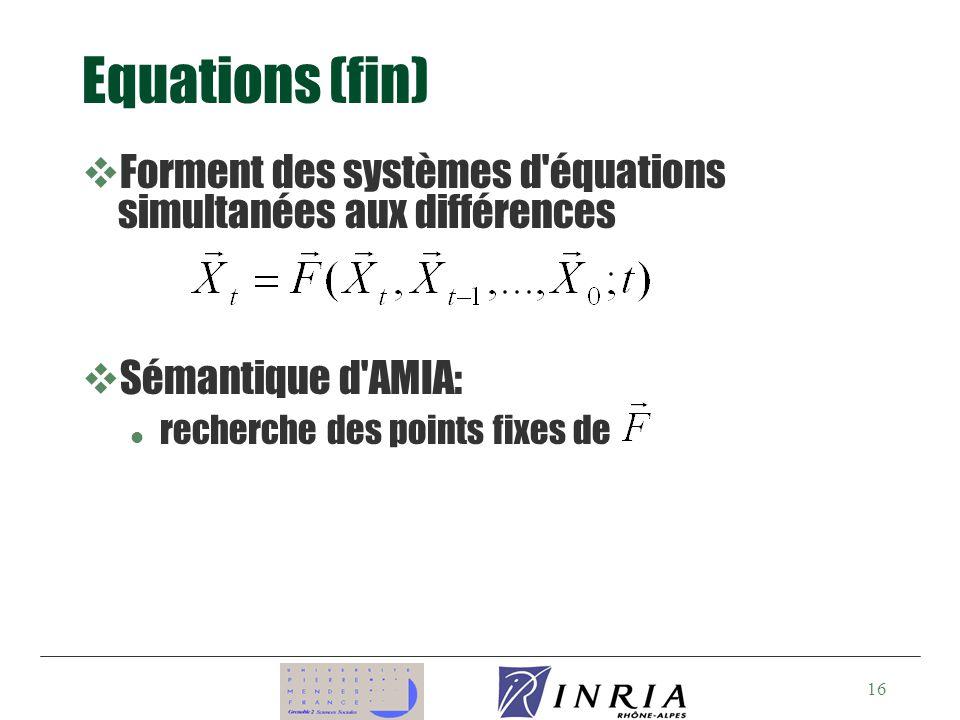 16 Equations (fin) vForment des systèmes d équations simultanées aux différences vSémantique d AMIA: l recherche des points fixes de