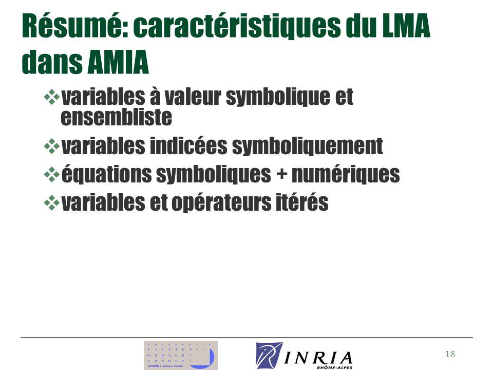 18 Résumé: caractéristiques du LMA dans AMIA vvariables à valeur symbolique et ensembliste vvariables indicées symboliquement véquations symboliques + numériques vvariables et opérateurs itérés