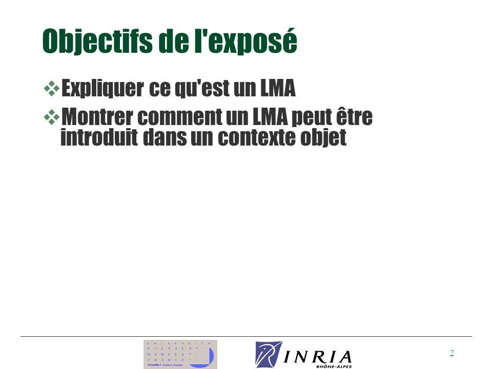 2 Objectifs de l exposé vExpliquer ce qu est un LMA vMontrer comment un LMA peut être introduit dans un contexte objet