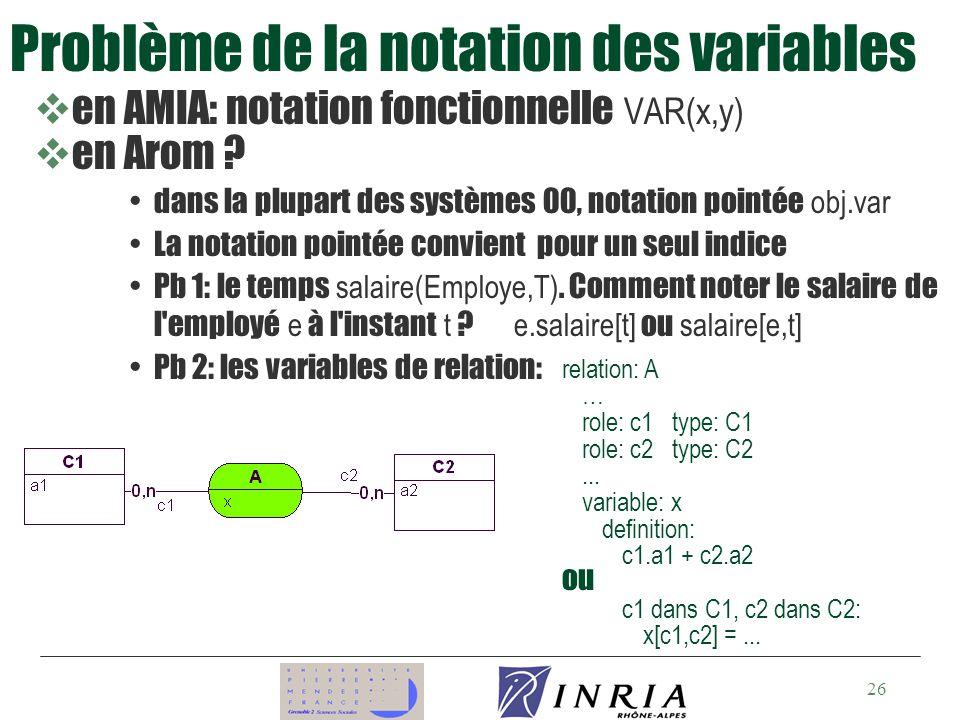 26 en AMIA: notation fonctionnelle VAR(x,y) ven Arom .
