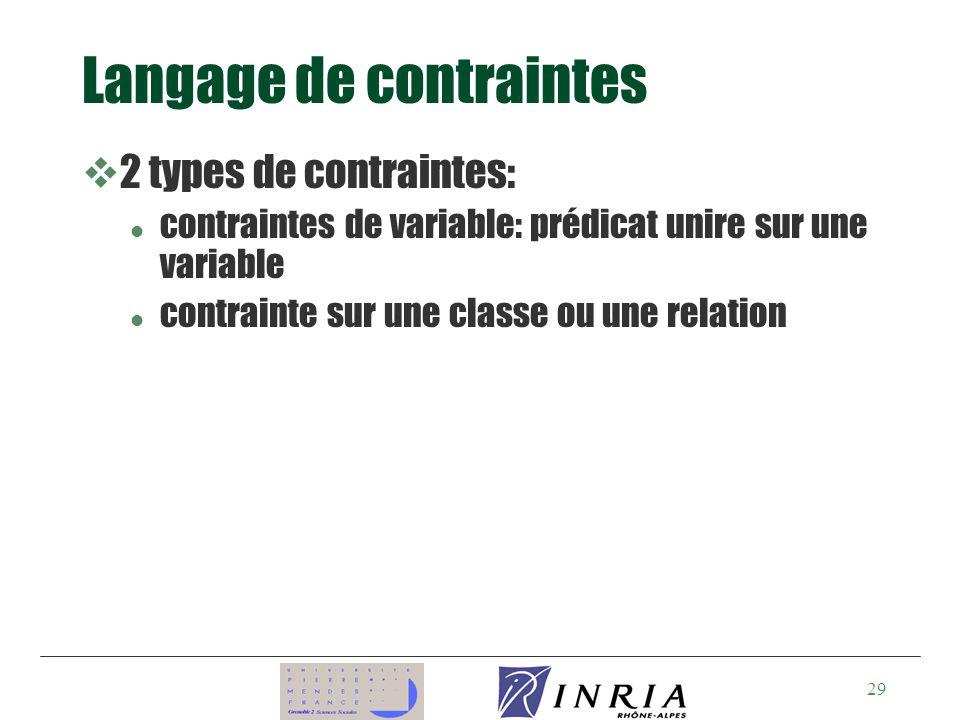 29 Langage de contraintes v2 types de contraintes: l contraintes de variable: prédicat unire sur une variable l contrainte sur une classe ou une relation