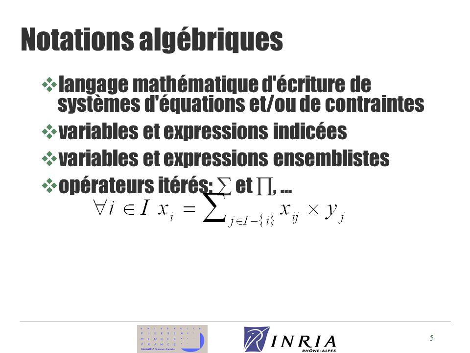 5 Notations algébriques vlangage mathématique d écriture de systèmes d équations et/ou de contraintes vvariables et expressions indicées vvariables et expressions ensemblistes vopérateurs itérés: et, …
