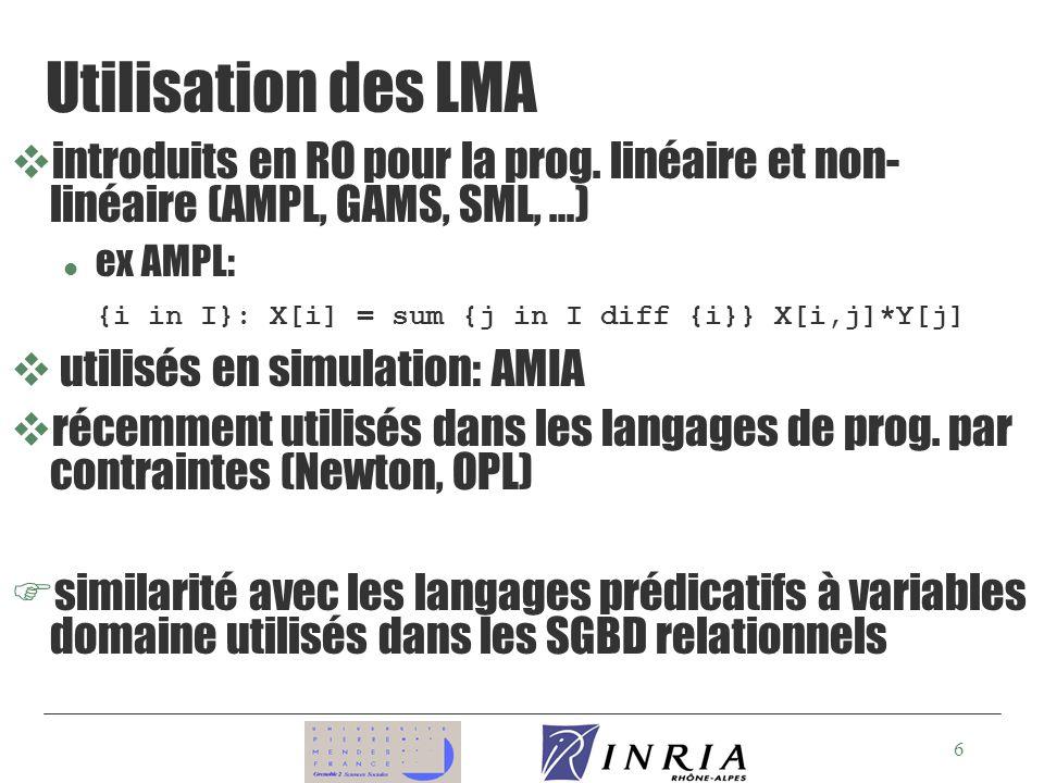6 Utilisation des LMA vintroduits en RO pour la prog.