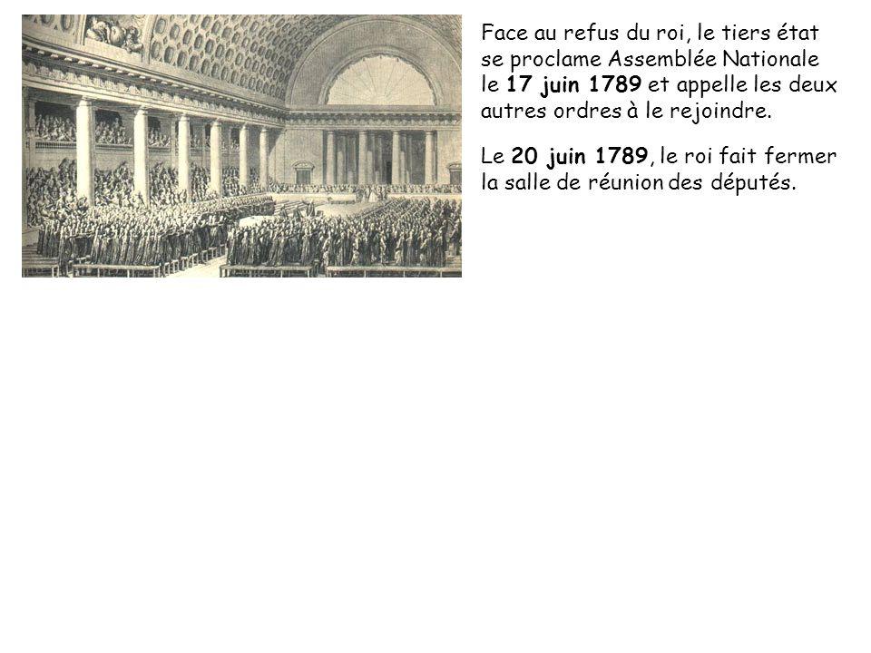 Face au refus du roi, le tiers état se proclame Assemblée Nationale le 17 juin 1789 et appelle les deux autres ordres à le rejoindre. Le 20 juin 1789,