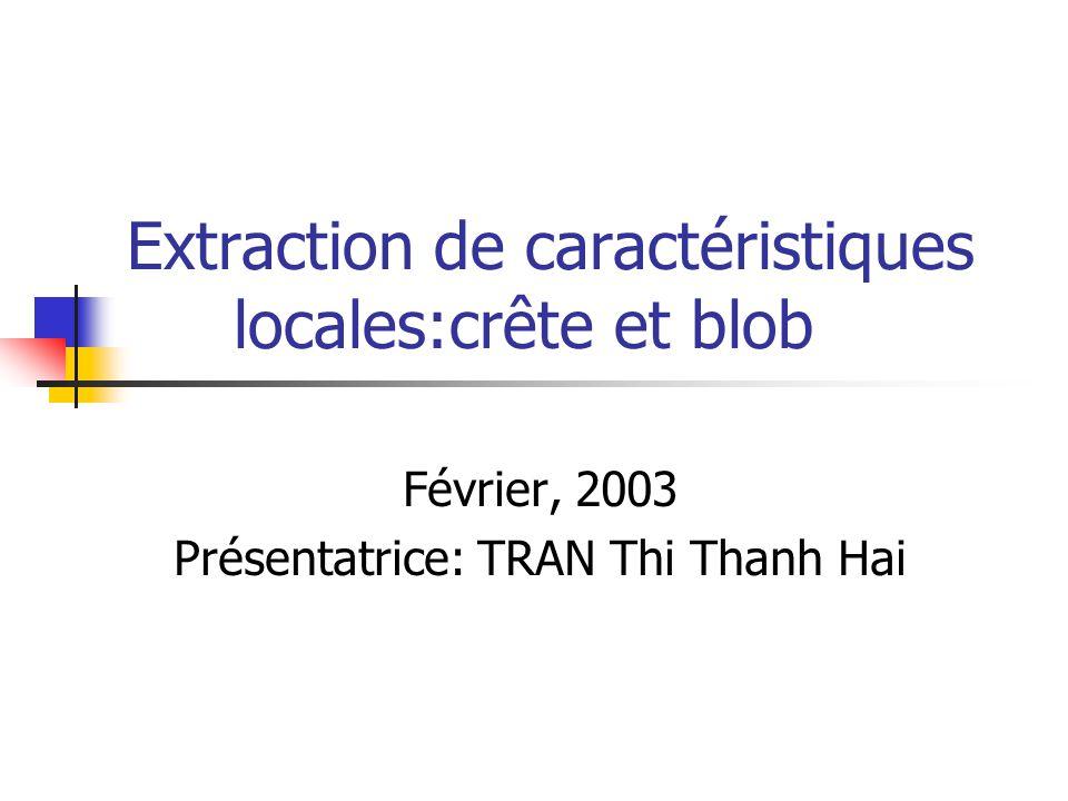 Extraction de caractéristiques locales:crête et blob Février, 2003 Présentatrice: TRAN Thi Thanh Hai