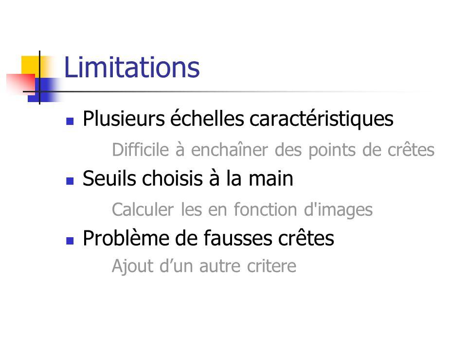 Limitations Plusieurs échelles caractéristiques Difficile à enchaîner des points de crêtes Seuils choisis à la main Calculer les en fonction d images Problème de fausses crêtes Ajout dun autre critere