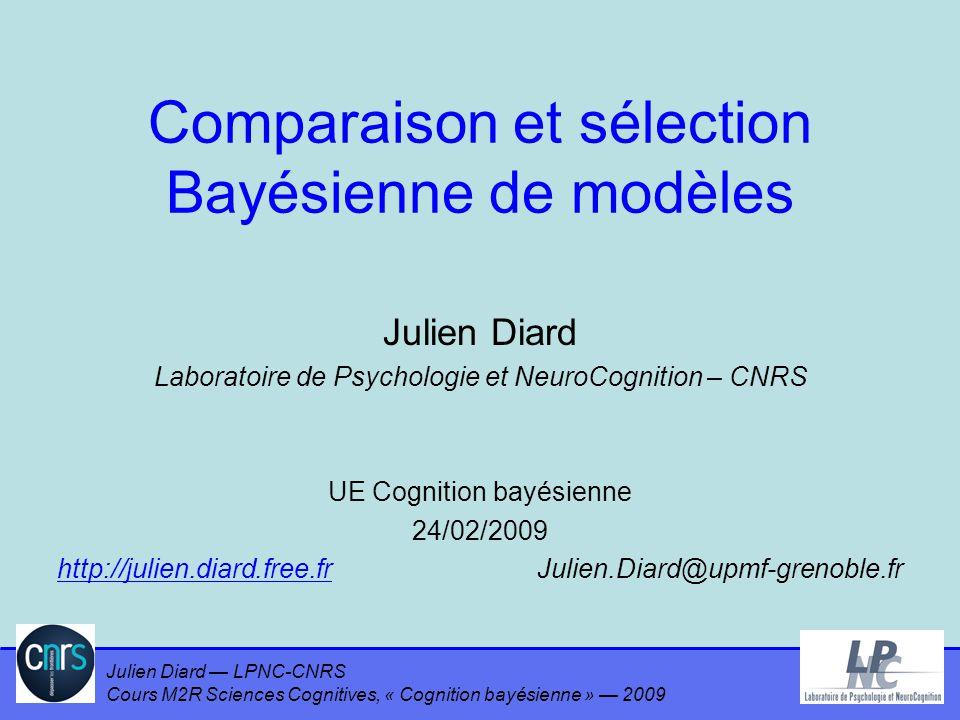 Julien Diard LPNC-CNRS Cours M2R Sciences Cognitives, « Cognition bayésienne » 2009 En modélisation probabiliste Un modèle –Point expérimental δ = {x,y} –P(δ) = P(y | x) P(x) –P(δ | θ 1 ) = P(y | x θ 1 ) P(x | θ 1 ) –P(δ | θ 1 m 1 ) = P(y | x θ 1 m 1 ) P(x | θ 1 m 1 ) 52