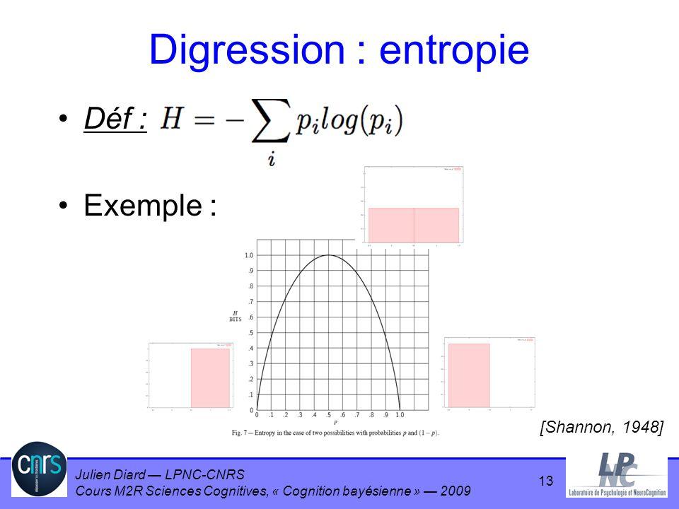 Julien Diard LPNC-CNRS Cours M2R Sciences Cognitives, « Cognition bayésienne » 2009 Digression : entropie Déf : Exemple : [Shannon, 1948] 13