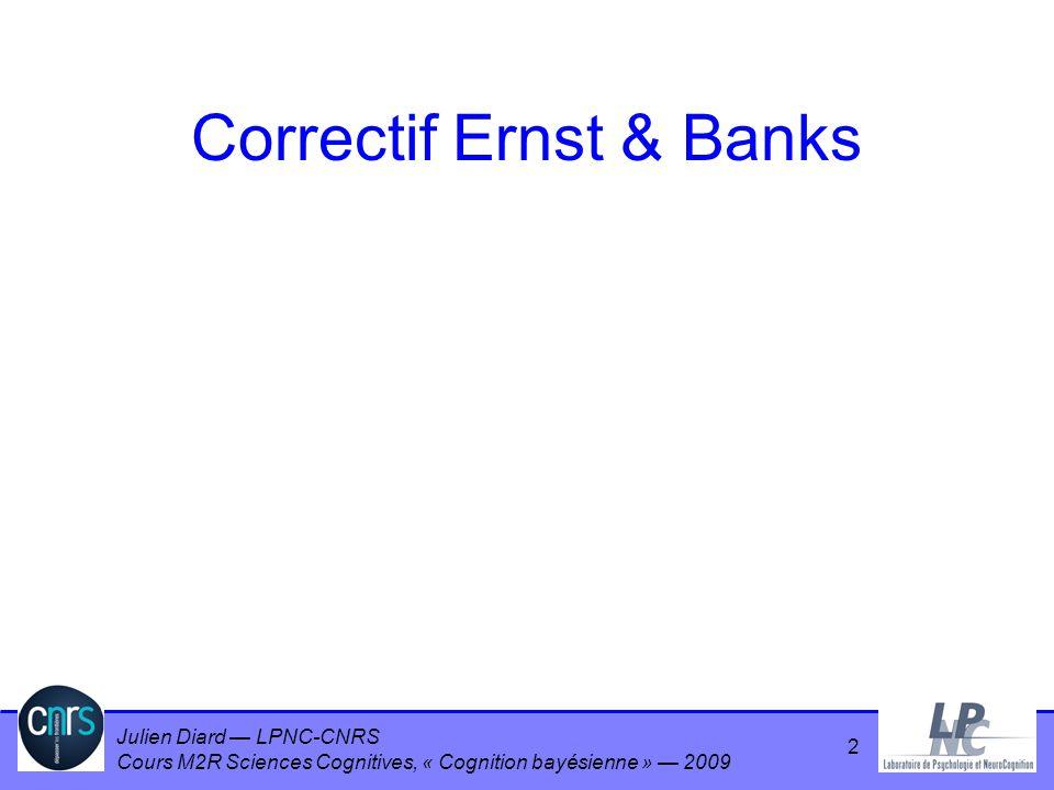 Julien Diard LPNC-CNRS Cours M2R Sciences Cognitives, « Cognition bayésienne » 2009 Correctif Ernst & Banks 2