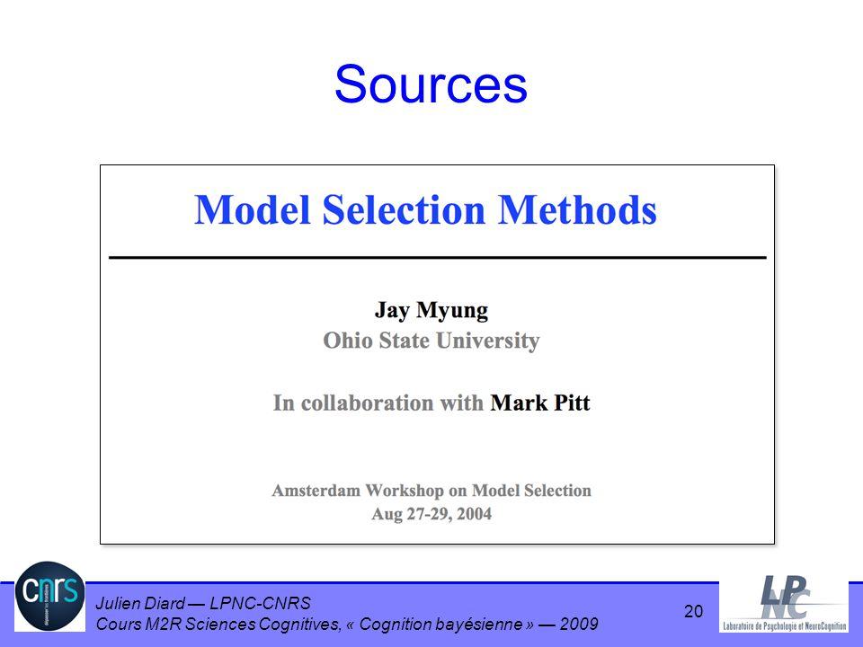 Julien Diard LPNC-CNRS Cours M2R Sciences Cognitives, « Cognition bayésienne » 2009 Sources 20
