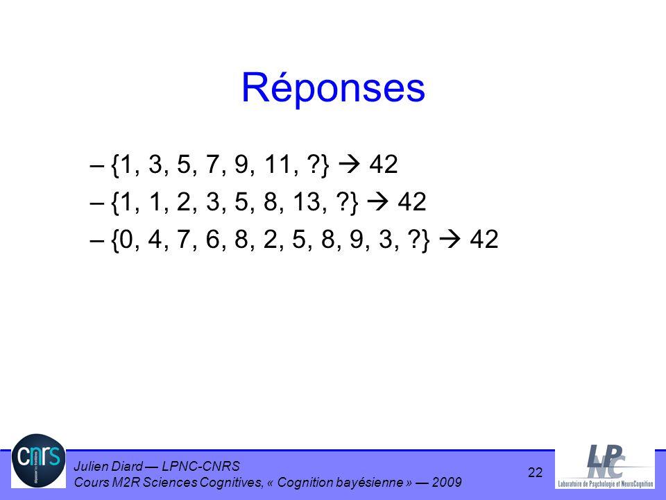 Julien Diard LPNC-CNRS Cours M2R Sciences Cognitives, « Cognition bayésienne » 2009 Réponses –{1, 3, 5, 7, 9, 11, ?} 42 –{1, 1, 2, 3, 5, 8, 13, ?} 42