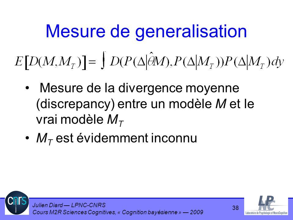 Julien Diard LPNC-CNRS Cours M2R Sciences Cognitives, « Cognition bayésienne » 2009 Mesure de generalisation Mesure de la divergence moyenne (discrepa