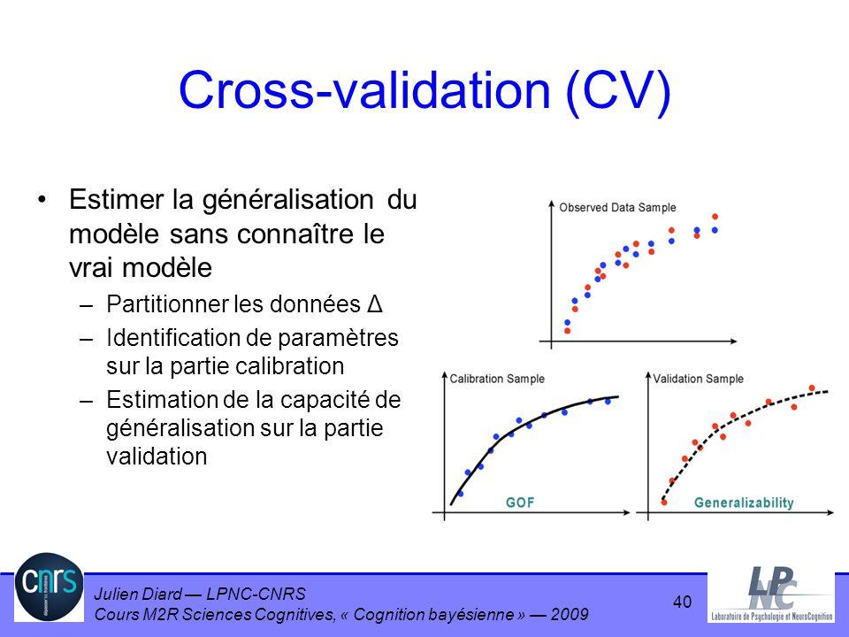 Julien Diard LPNC-CNRS Cours M2R Sciences Cognitives, « Cognition bayésienne » 2009 Cross-validation (CV) Estimer la généralisation du modèle sans con