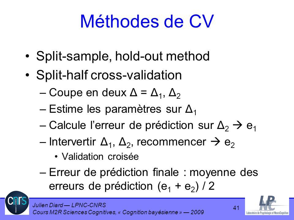Julien Diard LPNC-CNRS Cours M2R Sciences Cognitives, « Cognition bayésienne » 2009 Méthodes de CV Split-sample, hold-out method Split-half cross-vali
