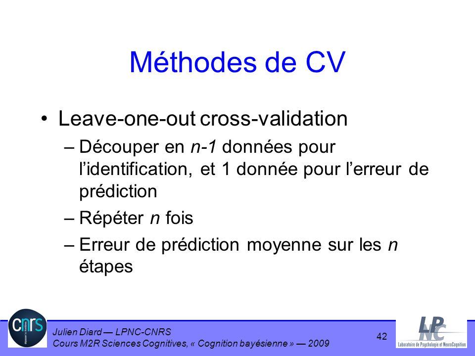 Julien Diard LPNC-CNRS Cours M2R Sciences Cognitives, « Cognition bayésienne » 2009 Méthodes de CV Leave-one-out cross-validation –Découper en n-1 don