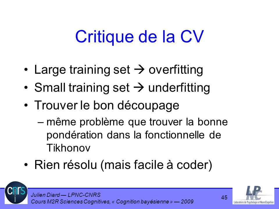 Julien Diard LPNC-CNRS Cours M2R Sciences Cognitives, « Cognition bayésienne » 2009 Critique de la CV Large training set overfitting Small training se