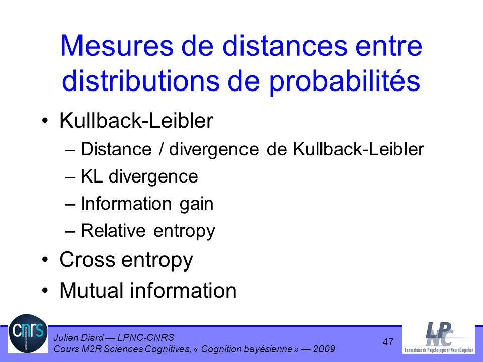Julien Diard LPNC-CNRS Cours M2R Sciences Cognitives, « Cognition bayésienne » 2009 Mesures de distances entre distributions de probabilités Kullback-