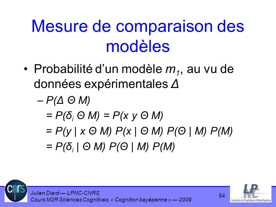 Julien Diard LPNC-CNRS Cours M2R Sciences Cognitives, « Cognition bayésienne » 2009 Mesure de comparaison des modèles Probabilité dun modèle m 1, au v