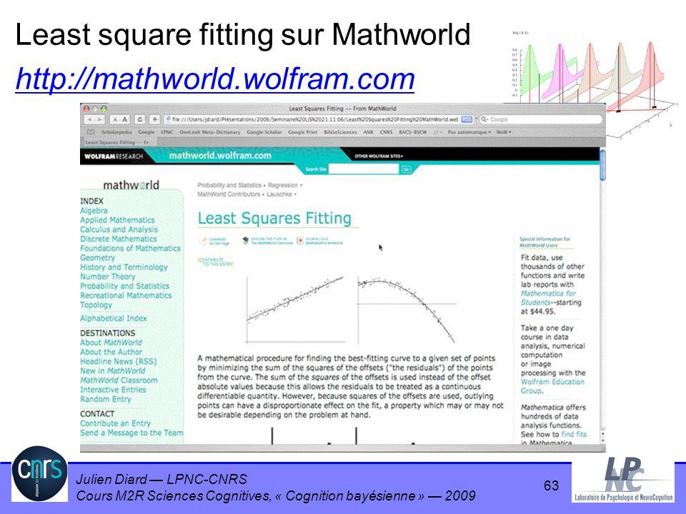 Julien Diard LPNC-CNRS Cours M2R Sciences Cognitives, « Cognition bayésienne » 2009 63 Least square fitting sur Mathworld http://mathworld.wolfram.com
