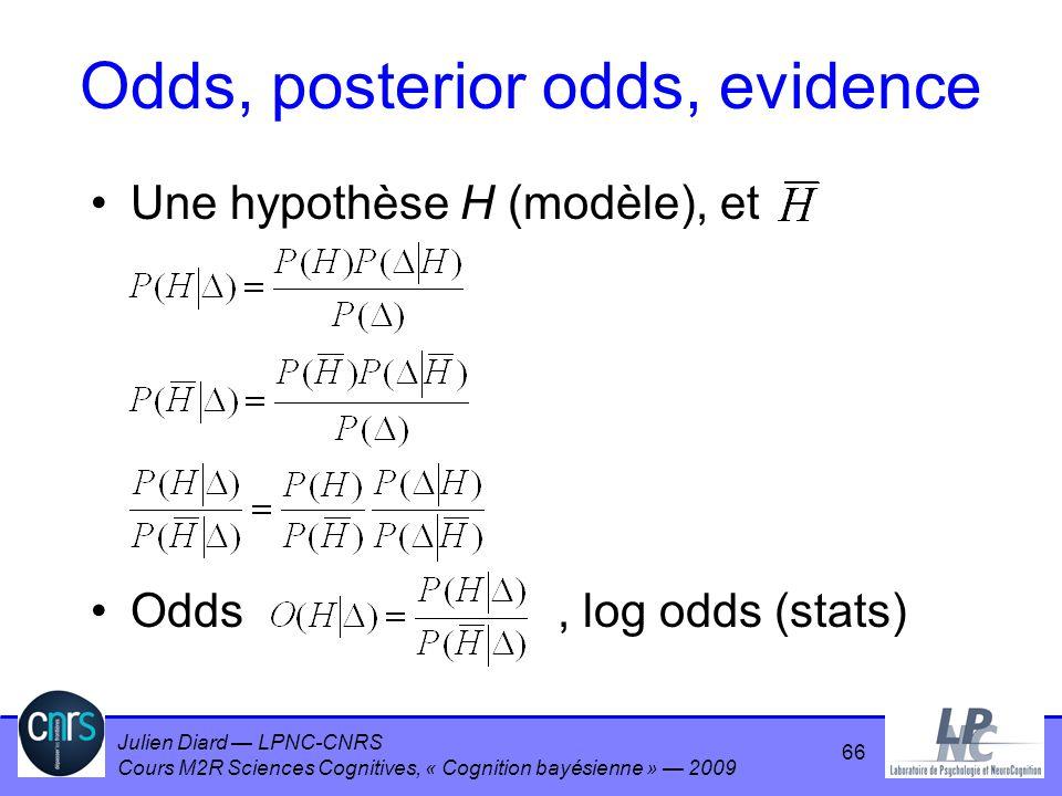 Julien Diard LPNC-CNRS Cours M2R Sciences Cognitives, « Cognition bayésienne » 2009 Odds, posterior odds, evidence Une hypothèse H (modèle), et Odds,