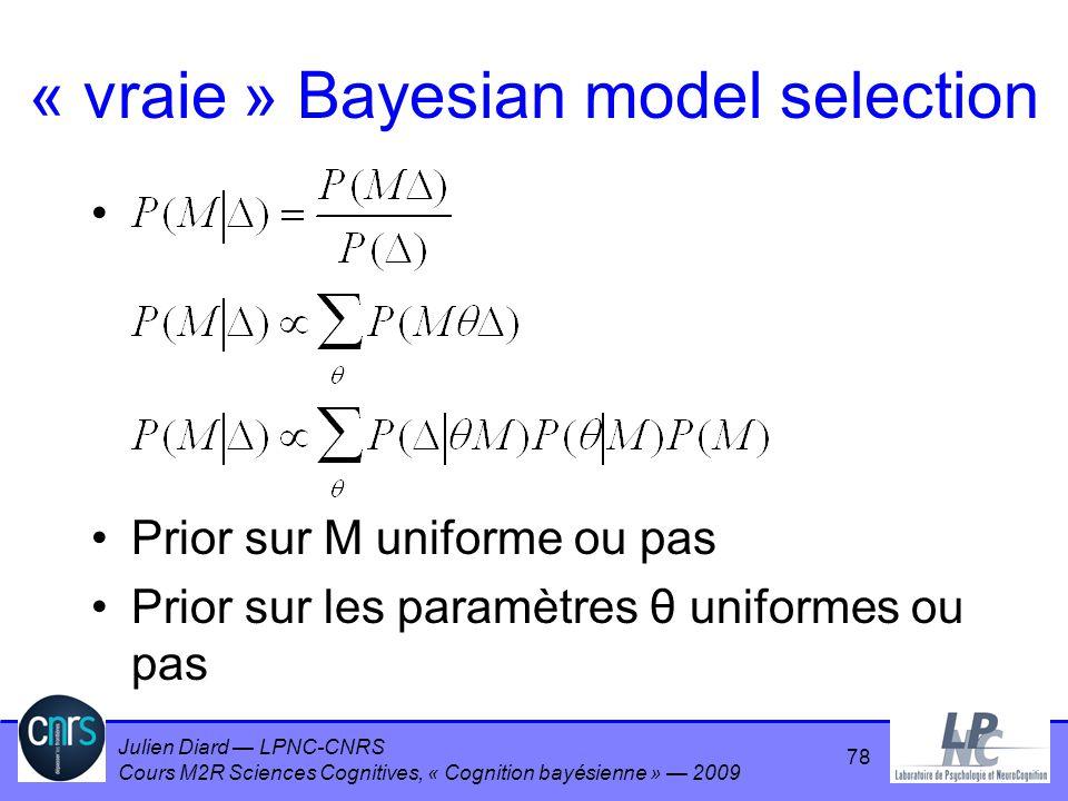 Julien Diard LPNC-CNRS Cours M2R Sciences Cognitives, « Cognition bayésienne » 2009 « vraie » Bayesian model selection Prior sur M uniforme ou pas Pri