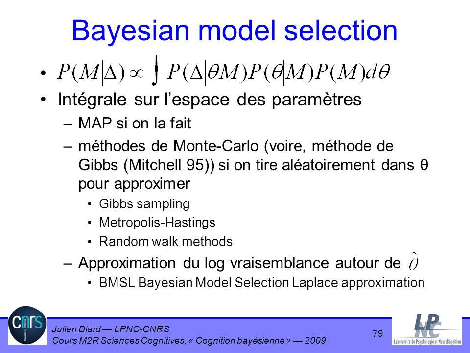 Julien Diard LPNC-CNRS Cours M2R Sciences Cognitives, « Cognition bayésienne » 2009 Bayesian model selection Intégrale sur lespace des paramètres –MAP