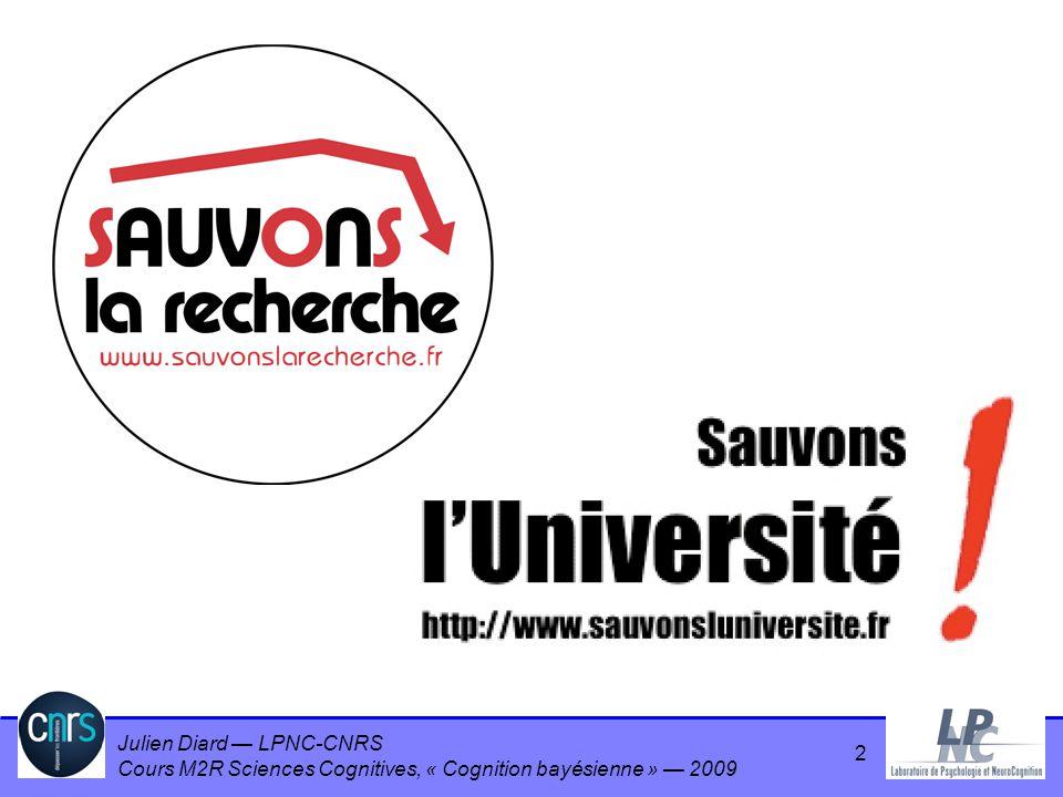 Julien Diard LPNC-CNRS Cours M2R Sciences Cognitives, « Cognition bayésienne » 2009 Espace de travail Minimisation des dérivées de lendpoint –n=2 minimum acceleration –n=3 minimum jerk –n=4 minimum snap 63