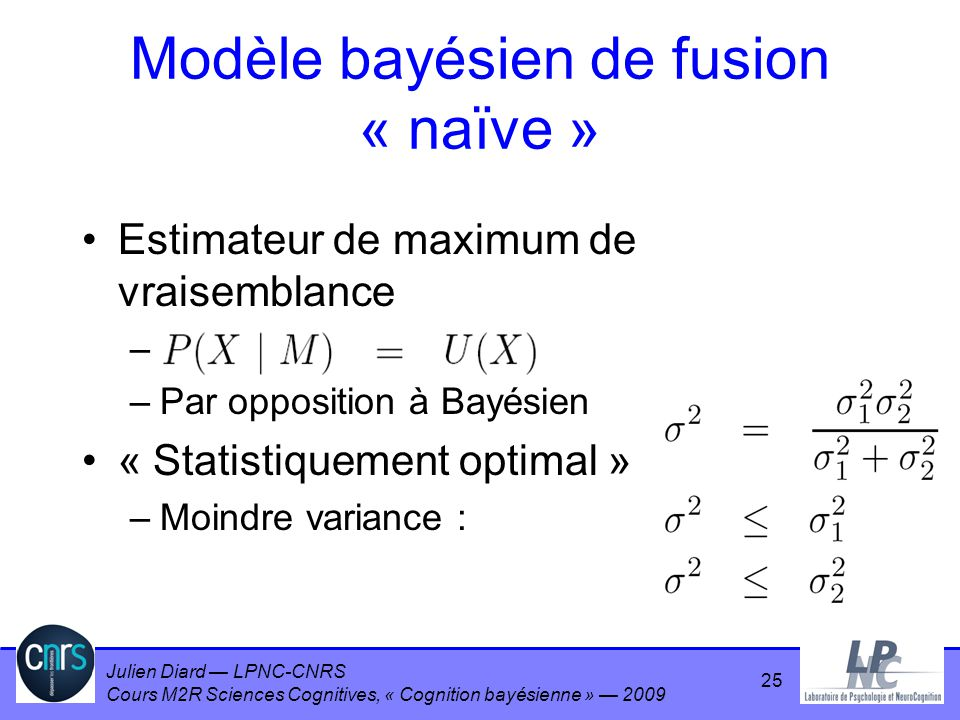 Julien Diard LPNC-CNRS Cours M2R Sciences Cognitives, « Cognition bayésienne » 2009 Estimateur de maximum de vraisemblance – –Par opposition à Bayésie