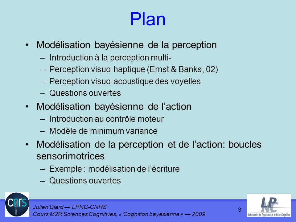 Julien Diard LPNC-CNRS Cours M2R Sciences Cognitives, « Cognition bayésienne » 2009 Plan Modélisation bayésienne de la perception –Introduction à la perception multi- –Perception visuo-haptique (Ernst & Banks, 02) –Perception visuo-acoustique des voyelles –Questions ouvertes Modélisation bayésienne de laction –Introduction au contrôle moteur –Modèle de minimum variance Modélisation de la perception et de laction: boucles sensorimotrices –Exemple : modélisation de lécriture –Questions ouvertes 4