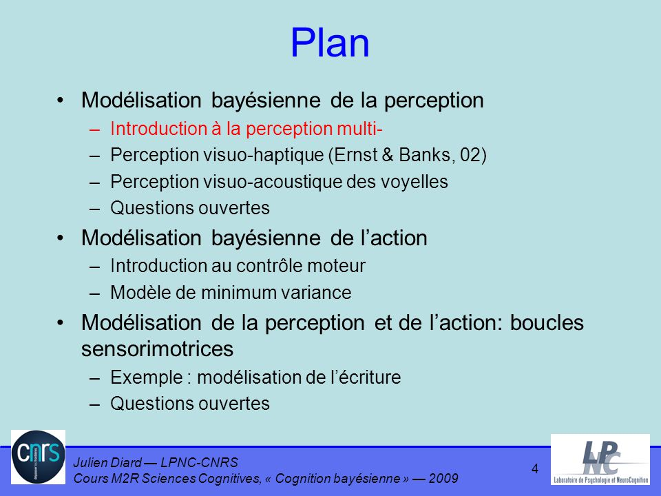 Julien Diard LPNC-CNRS Cours M2R Sciences Cognitives, « Cognition bayésienne » 2009 Plan Modélisation bayésienne de la perception –Introduction à la p