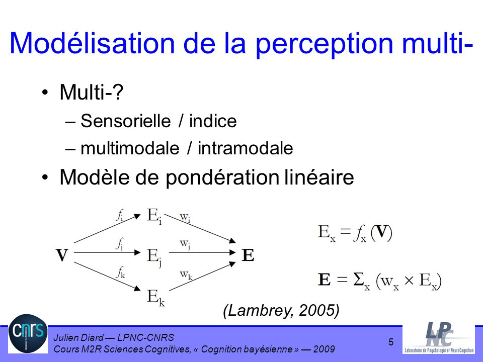 Julien Diard LPNC-CNRS Cours M2R Sciences Cognitives, « Cognition bayésienne » 2009 16 Stimuli et tâche 4 niveaux de bruit visuel : 0% 67% 133% 200% 1 niveau haptique 1 s de présentation Tâche de choix forcé –laquelle de ces deux barres est la plus grande ?