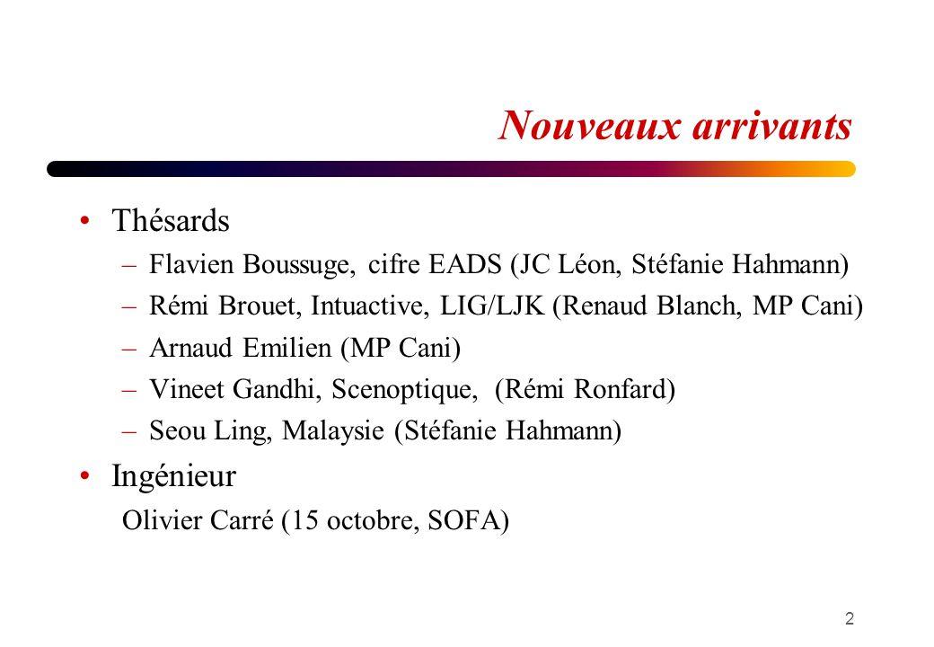 Nouveaux arrivants Thésards –Flavien Boussuge, cifre EADS (JC Léon, Stéfanie Hahmann) –Rémi Brouet, Intuactive, LIG/LJK (Renaud Blanch, MP Cani) –Arna