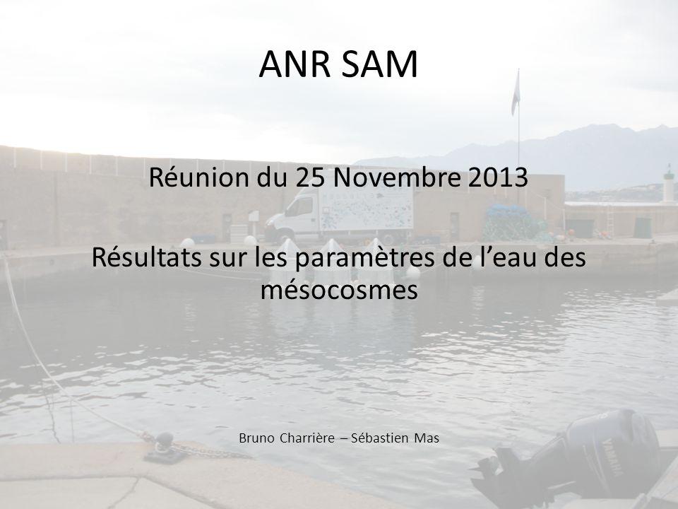 ANR SAM Réunion du 25 Novembre 2013 Résultats sur les paramètres de leau des mésocosmes Bruno Charrière – Sébastien Mas