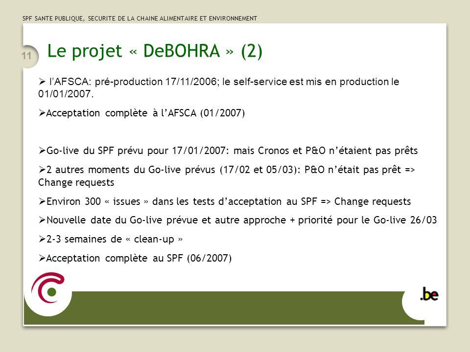 SPF SANTE PUBLIQUE, SECURITE DE LA CHAINE ALIMENTAIRE ET ENVIRONNEMENT 11 Le projet « DeBOHRA » (2) lAFSCA: pré-production 17/11/2006; le self-service
