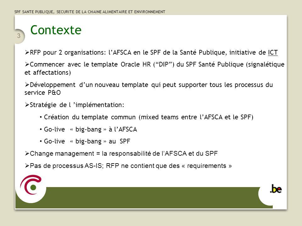 SPF SANTE PUBLIQUE, SECURITE DE LA CHAINE ALIMENTAIRE ET ENVIRONNEMENT 3 Contexte RFP pour 2 organisations: lAFSCA en le SPF de la Santé Publique, ini