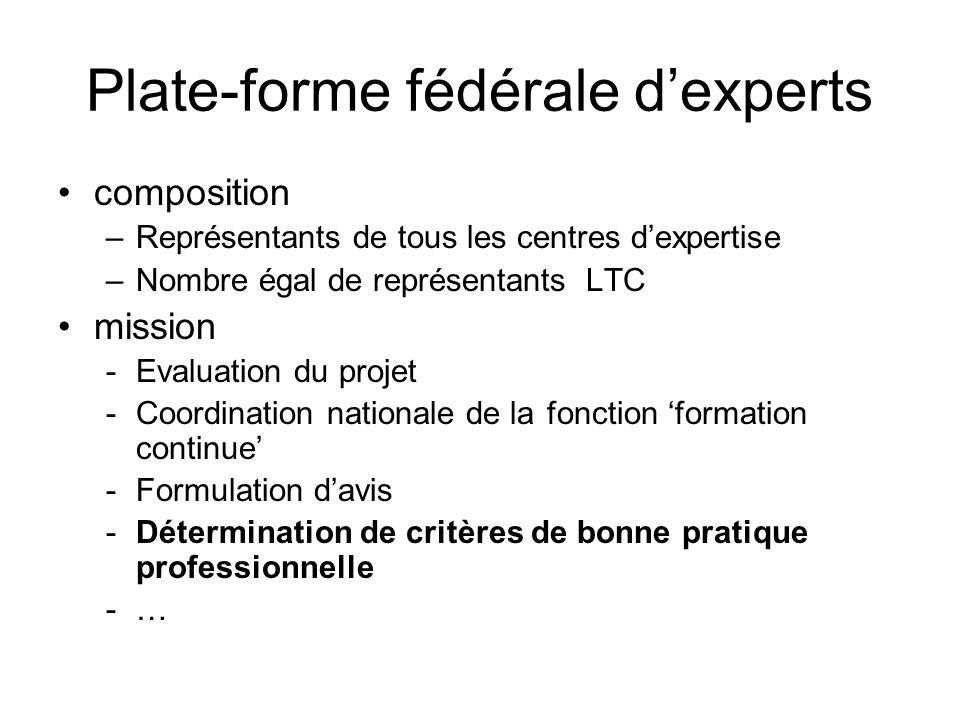 Plate-forme fédérale dexperts composition –Représentants de tous les centres dexpertise –Nombre égal de représentants LTC mission -Evaluation du proje