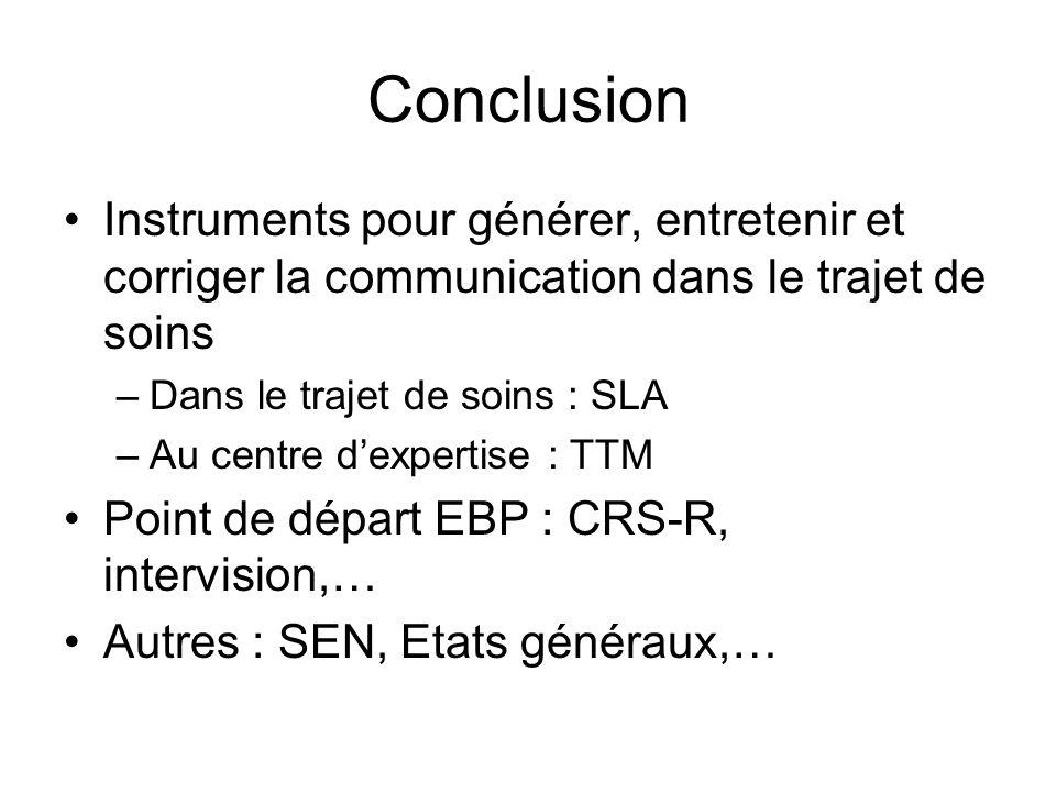 Conclusion Instruments pour générer, entretenir et corriger la communication dans le trajet de soins –Dans le trajet de soins : SLA –Au centre dexpert