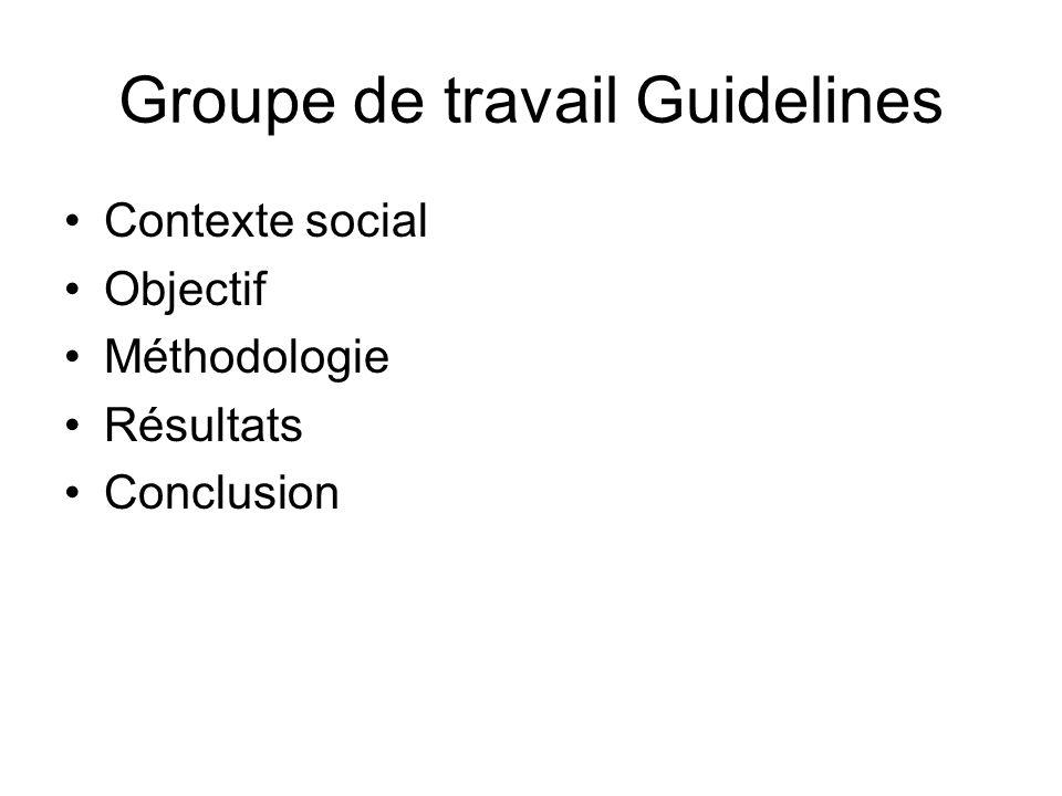Groupe de travail Guidelines Contexte social Objectif Méthodologie Résultats Conclusion