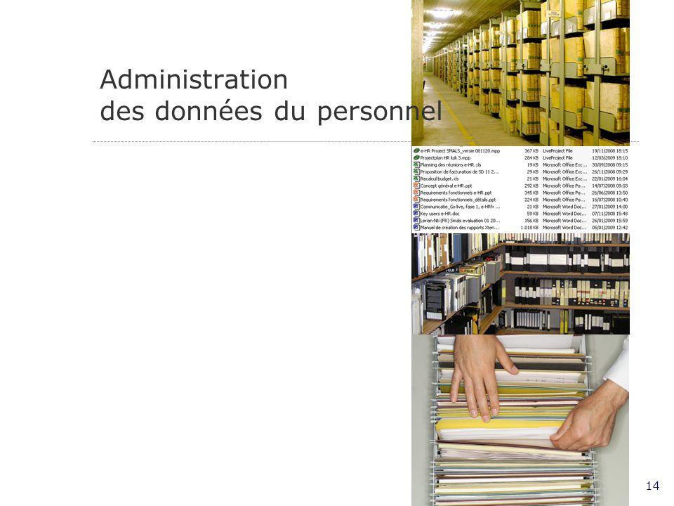 14 Administration des données du personnel