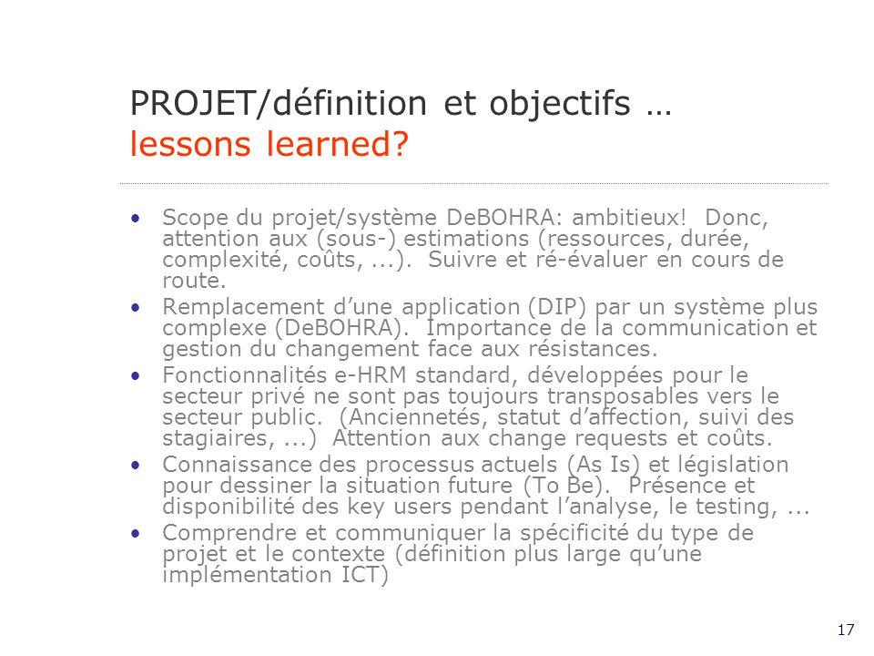 17 Scope du projet/système DeBOHRA: ambitieux.